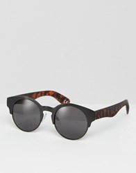 Asos Metal Sunglasses With Tort Arms Black