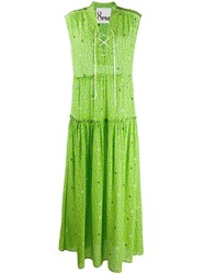 8Pm Star Print Maxi Dress Green