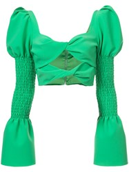 Christian Siriano Cut Detail Long Sleeve Top Green