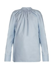Marni Buttoned Back Ruffled Neck Blouse Light Blue