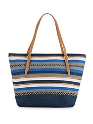 Saks Fifth Avenue Striped Straw Tote Bag Navy