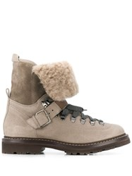 Brunello Cucinelli Fur Lined Lace Up Boot Neutrals
