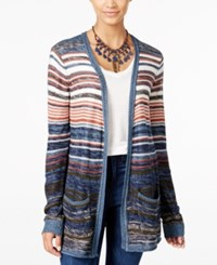 One Hart Juniors' Striped Open Front Cardigan Only At Macy's Stripe Combo
