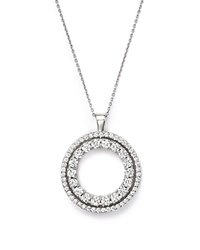 Roberto Coin 18K White Gold Double Sided Circle Pendant Necklace With White And Black Diamonds 16