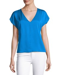Milly Short Sleeve Seamed V Neck Stretch Silk Top Emerald