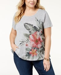 Styleandco. Style Co Plus Size Floral Print High Low Hem Top Created For Macy's Tropic Flowers