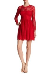 Guess Long Sleeve Lace Dress Red