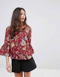 Qed London Floral Print Chiffon Top Burgandy Red