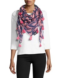 Lord And Taylor Flamingo Print Tassel Wrap Scarf Navy Pink