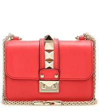 Valentino Lock Mini Leather Shoulder Bag Red