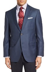 David Donahue Men's 'Connor' Classic Fit Check Wool Sport Coat Medium Blue