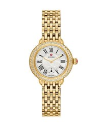 Michele Serein 28Mm 18K Gold Plated Bracelet Watch With Diamond Bezel