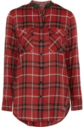 Vince Leather Trimmed Plaid Cotton Blend Shirt Red