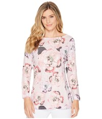 Nally And Millie Long Sleeve Pink Floral Top Multi Clothing