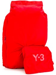 Y 3 Attached Pouch Backpack Red