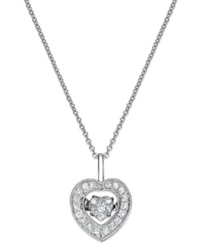 Twinkling Diamond Star Diamond Heart Pendant Necklace In 14K White Gold 1 4 Ct. T.W.