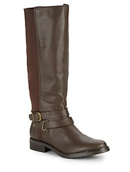 Kenneth Cole Reaction Equestrian Leather Blend Boots Cocoa