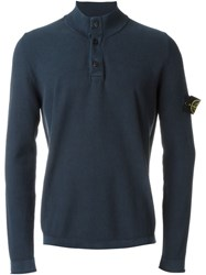 Stone Island Button Collar Sweater Blue