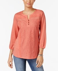 Style And Co Mixed Lace Peasant Blouse Only At Macy's Rose Sand