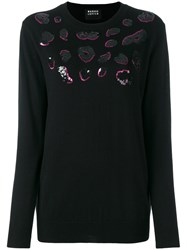 Markus Lupfer Sequin Lips Sweater Black