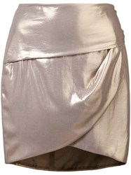 Michelle Mason Gathered Mini Skirt Metallic