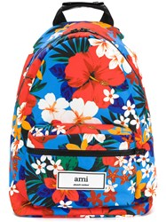 Ami Alexandre Mattiussi Floral Print Backpack Leather Polyester Multicolour