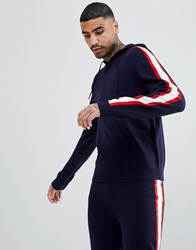 Asos Knitted Co Ord Hoodie With Side Stripe In Navy