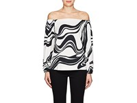 Lisa Perry Swirl Crepe Off The Shoulder Top Black White