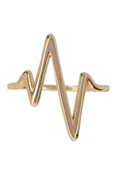 Sterling Forever 14K Gold Plated Sterling Silver Heart Beat Ring Metallic