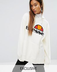 Ellesse Extreme Oversized Hoodie With Washed Logo Marshmallow Cream