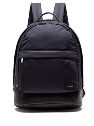Paul Smith Leather Trimmed Backpack Navy