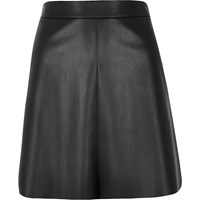 River Island Womens Black Leather Look Flippy Skirt