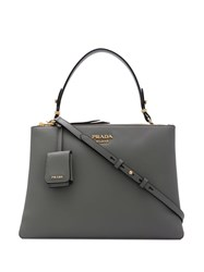 Prada Logo Plaque Tote Bag Grey