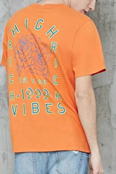 Forever 21 High Vibes Graphic Tee Orange Teal