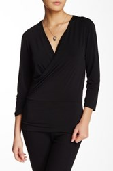 Ellen Tracy 3 4 Length Sleeve Wrap Blouse Black