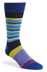 Bugatchi Men's 'Thin Stripe Bold Stripe' Socks Midnight