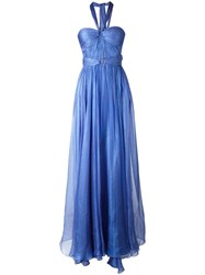 Maria Lucia Hohan Halterneck Flared Gown Blue