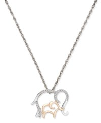 Macy's Diamond Mother And Child Elephant Pendant Necklace 1 10 Ct. T.W. In Sterling Silver And 14K Rose Gold Two Tone