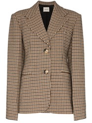 Khaite Kendall Wool Check Blazer Brown
