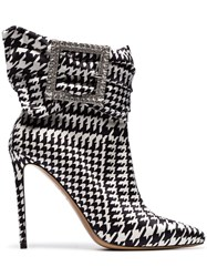 Alexandre Vauthier Black And White Yasmin 100 Houndstooth Print Buckle