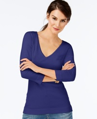 Inc International Concepts V Neck Three Quarter Sleeve Sweater Only At Macy's Goddess Blue