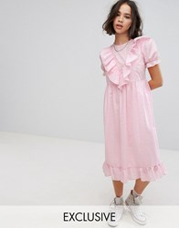 Reclaimed Vintage Inspired Midi Broderie Dress With Trims And Frills Pink