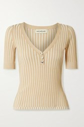 Nicholas Epices Ribbed Knit Top Beige