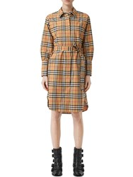 Burberry Isotto Printed Cotton Poplin Dress Antique Check