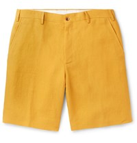 Anderson And Sheppard Linen Shorts Yellow