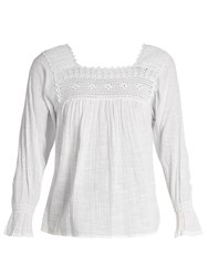 Masscob Crochet Trimmed Cotton Gauze Top White