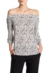 Laundry By Shelli Segal Off The Shoulder 3 4 Sleeve Print Shirt Multi