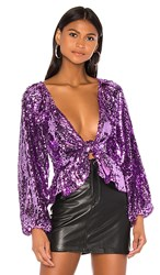 For Love And Lemons Madeleine Sequin Top In Purple.