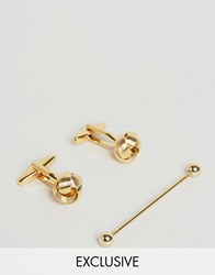 Reclaimed Vintage Knot Cufflinks And Collar Bar Gift Set In Gold Gold