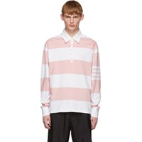 Thom Browne Pink And White Rugby Stripe Polo